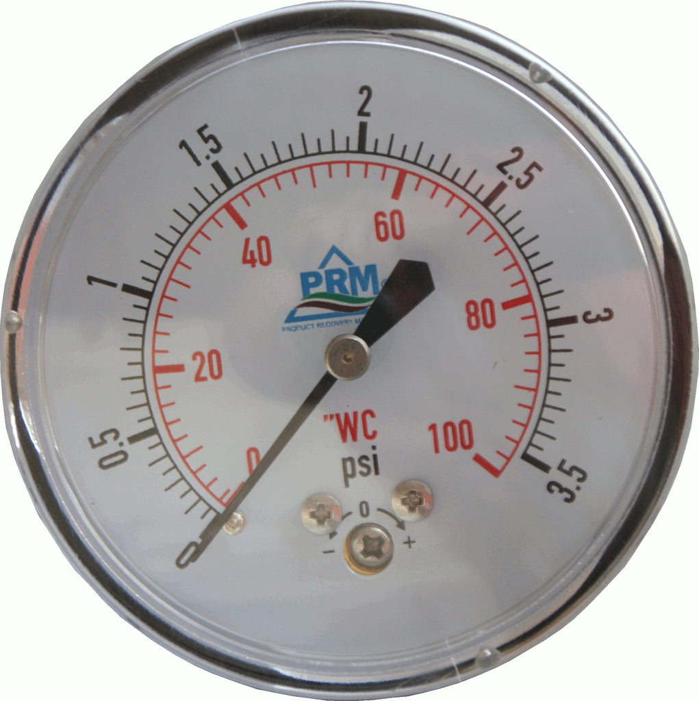 "PRM Chrome Case Pressure Gauge with Brass Internals, 0-100""WC, 2-1/2 Inch Dial, 1/4 Inch NPT Back Mount"