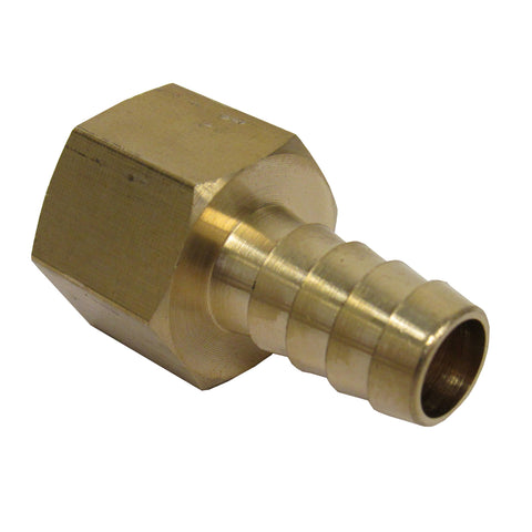 BRASS HOSE BARBS - STRAIGHT FITTING ADAPTERS, FEMALE NPT X HOSE BARB - 1/4 INCH
