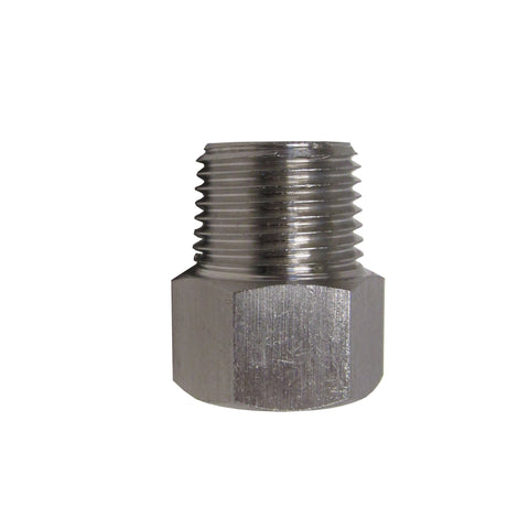 BSPP ADAPTERS - STAINLESS STEEL - 1/2 INCH MALE NPT  x  1/2 INCH BSPP FEMALE