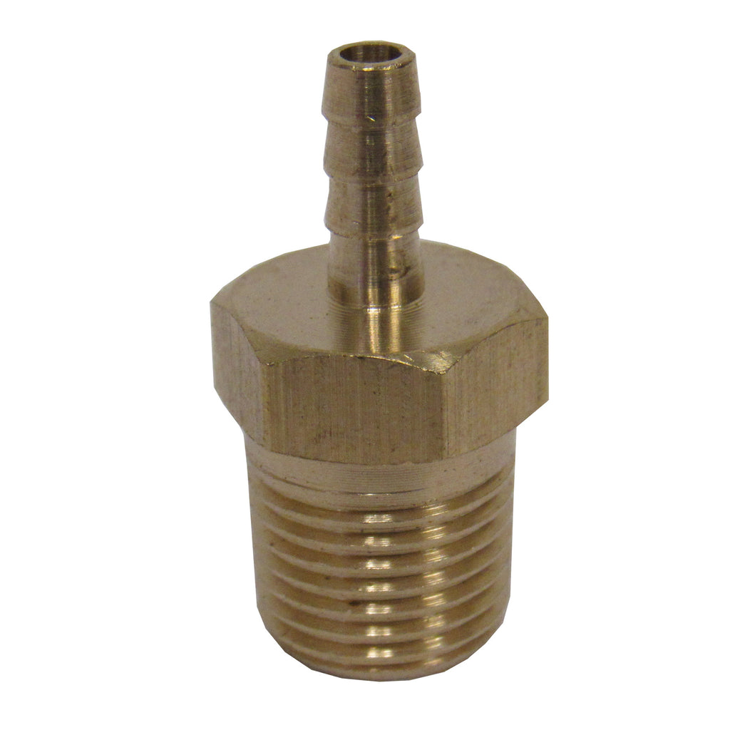 BRASS HOSE BARBS - STRAIGHT FITTING ADAPTERS, MALE NPT X HOSE BARB - 3/8 INCH