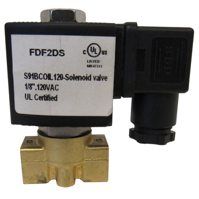SOLENOID VALVE - 1/8 INCH NPT, BRASS BODY, 120VAC COIL, VITON SEAL - SV018DHSM3118X