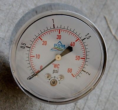 "PRM Chrome Case Pressure Gauge with Brass Internals, 0-60""WC, 2-1/2 Inch Dial, 1/4 Inch NPT Back Mount"
