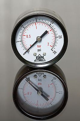 PRM Steel Case Pressure Gauge with Brass Internals, 0-30 PSI, 2 Inch Dial, 1/4 Inch NPT Back Mount