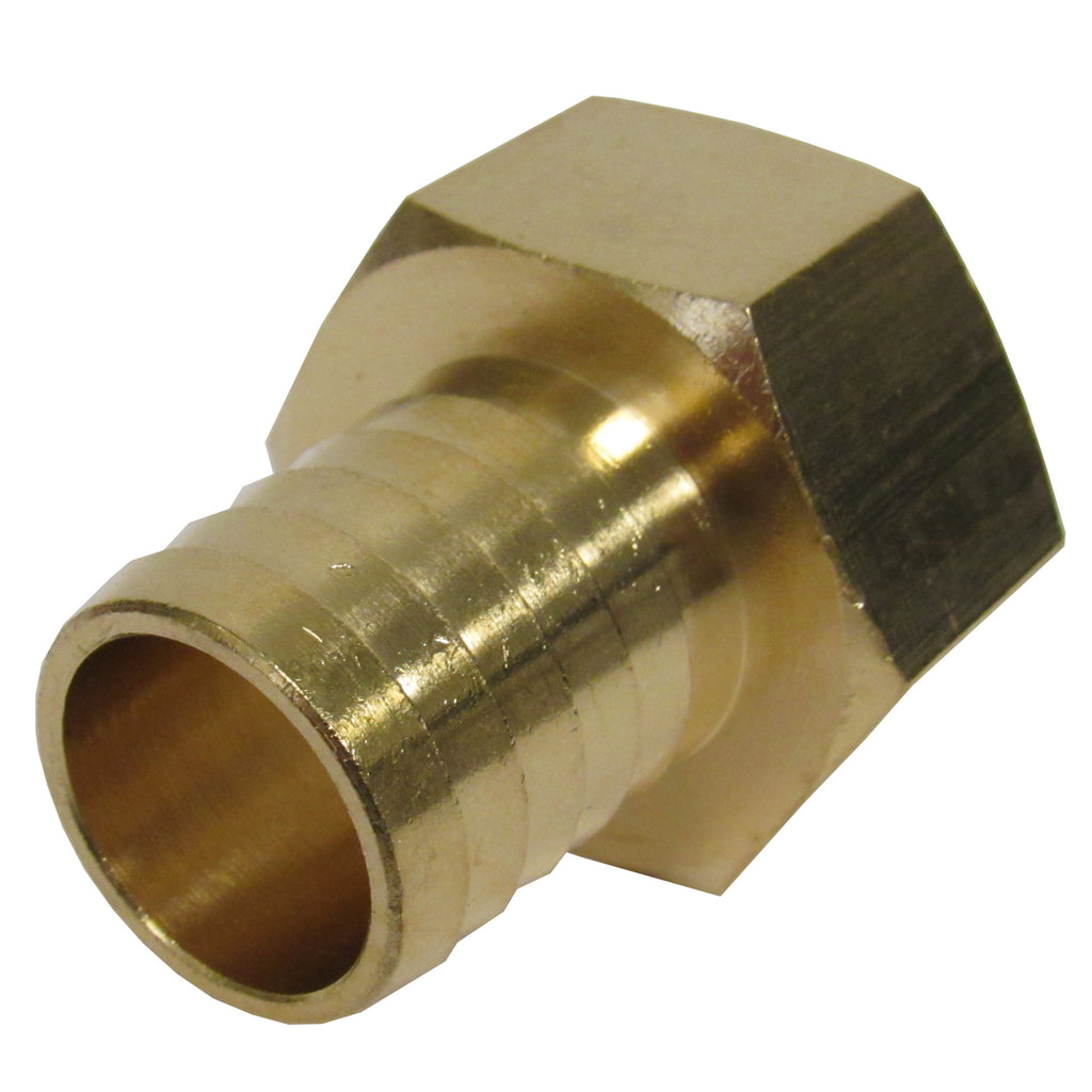 BRASS HOSE BARBS - STRAIGHT FITTING ADAPTERS, FEMALE NPT X HOSE BARB - 3/8 INCH