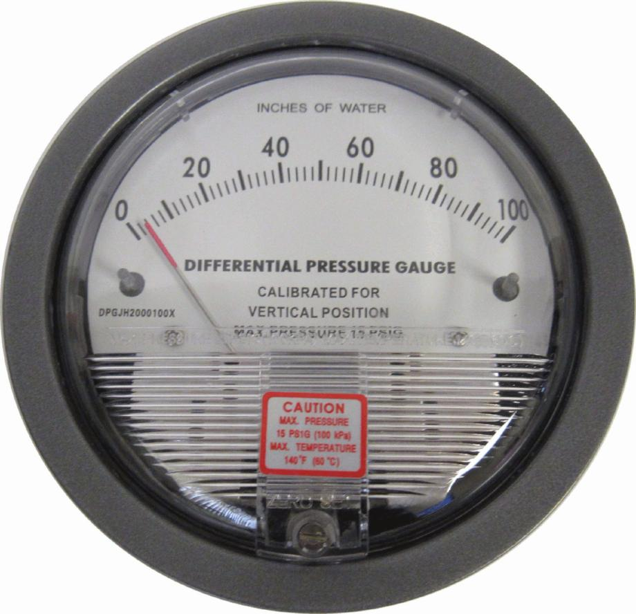 DIFFERENTIAL PRESSURE GAUGE - 0-100 INCHES OF WATER