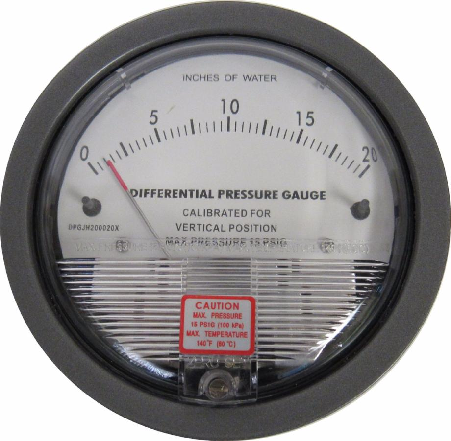 DIFFERENTIAL PRESSURE GAUGE - 0-20 INCHES OF WATER