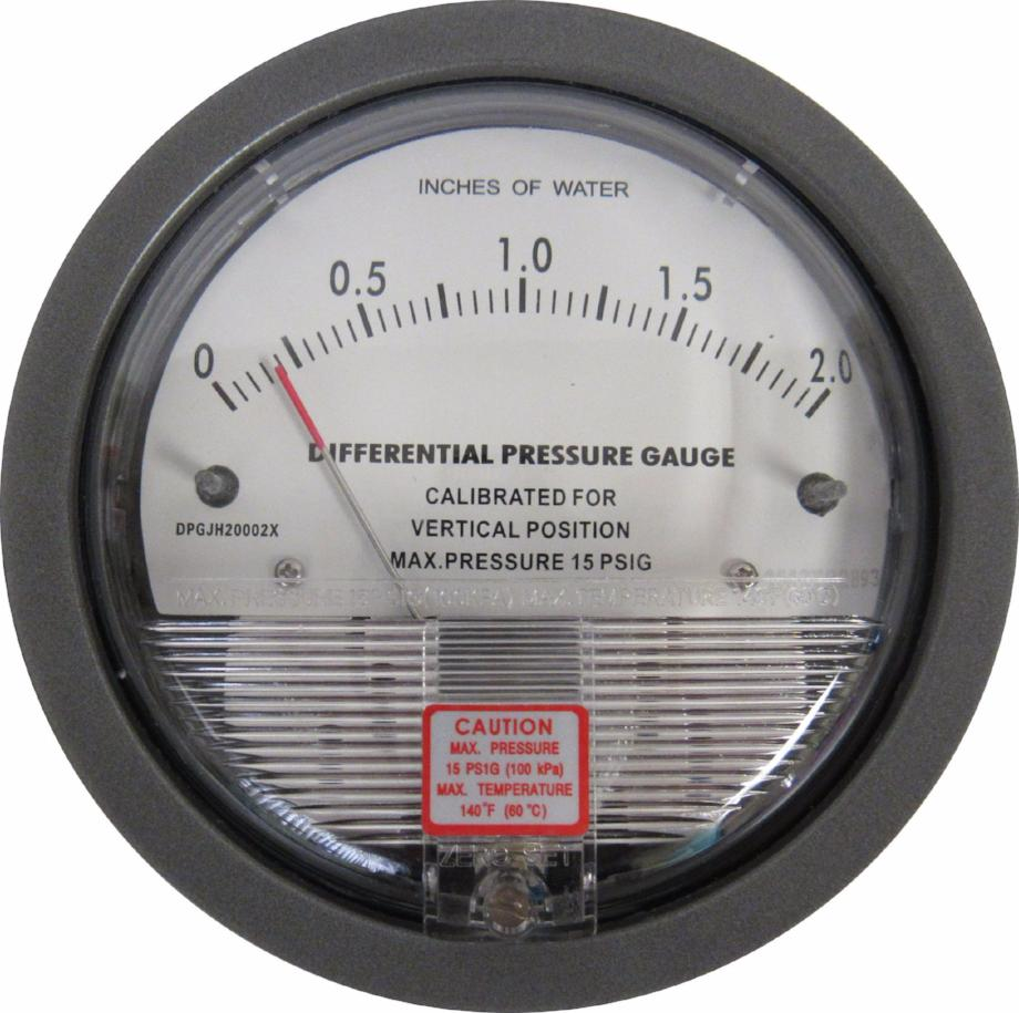 Differential Pressure Gauge, 0-2 Inches of Water
