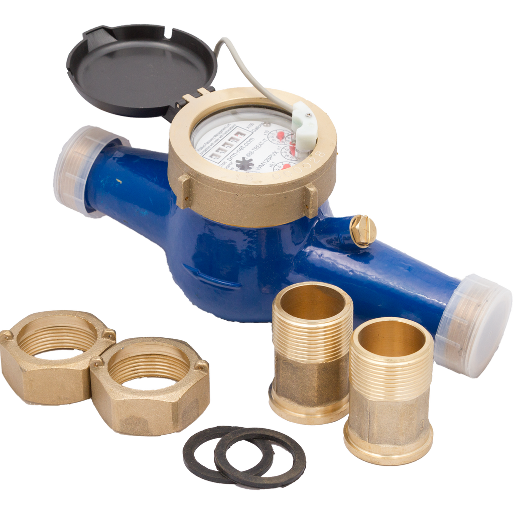 "PRM 2"" Multi-Jet Brass Totalizing Water Meter with Pulse Output with Parts"