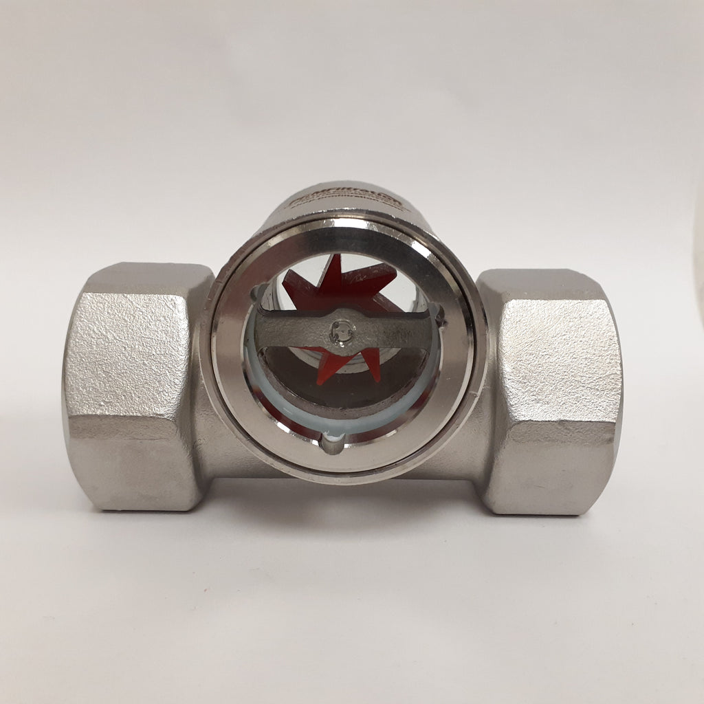 PRM Sight Flow Indicator, 1 Inch, 316 Stainless Steel, PTFE Seal and Impeller