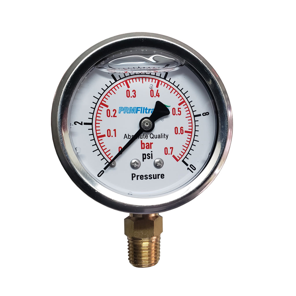 PRM 304 Stainless Steel Pressure Gauge with Brass Internals, 0-10 PSI, 2-1/2 Inch Dial, 1/4 Inch NPT Bottom Mount