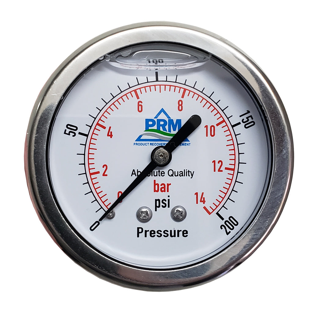 PRM 304 Stainless Steel Pressure Gauge with Brass Internals, 0-200 PSI, 2-1/2 Inch Dial, 1/4 Inch NPT Back Mount