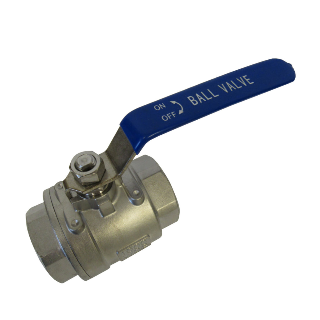 TJ Valve 2 Piece 304 Stainless Steel Full Port Valve, 1-1/2 Inch NPT