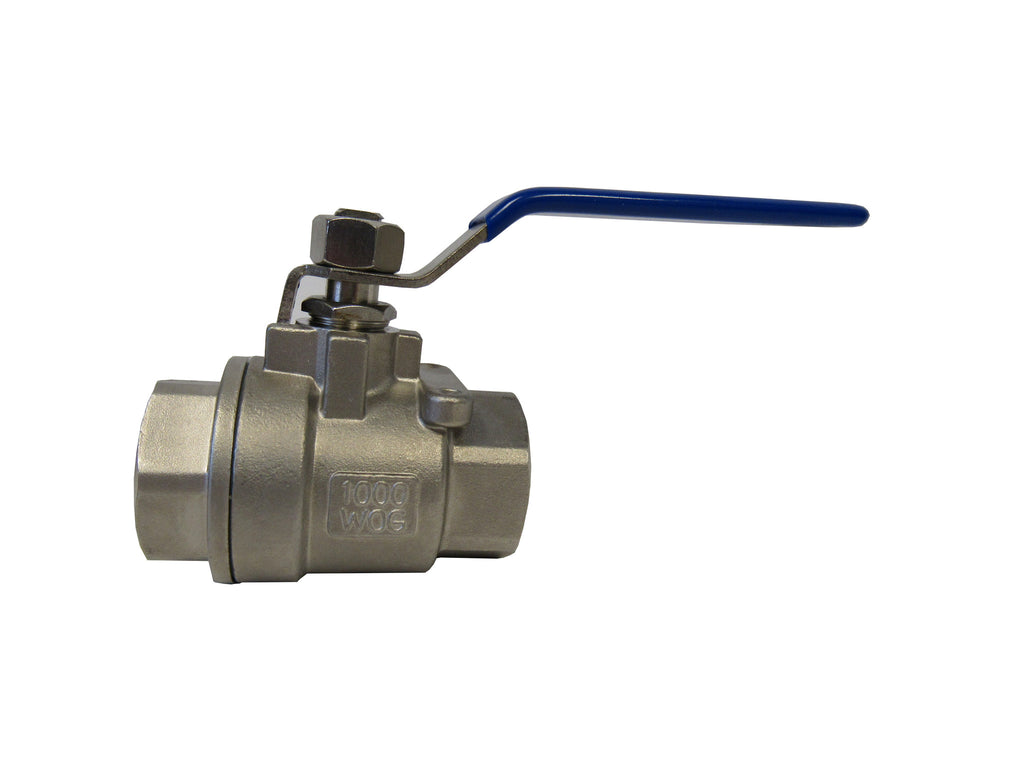 TJ Valve 2 Piece 304 Stainless Steel Full Port Valve, 1 Inch NPT