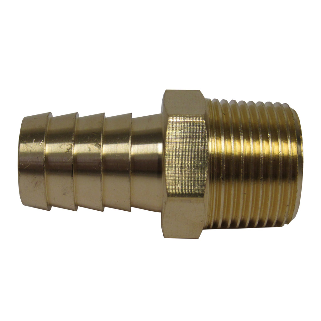BRASS HOSE BARBS - STRAIGHT FITTING ADAPTERS, MALE NPT X HOSE BARB - 1/4 INCH