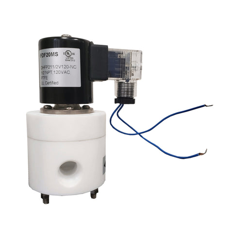 Solenoid Valve, 1/2 Inch NPT, PTFE (Teflon) Body and Seals, 120 VAC Coil
