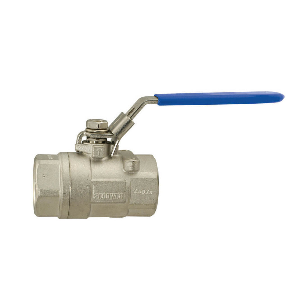 BONOMI 700LL - 2 PIECE, STAINLESS STEEL, FULL-PORT, MANUAL BALL VALVE WITH LOCKING HANDLE - 3/8 INCH