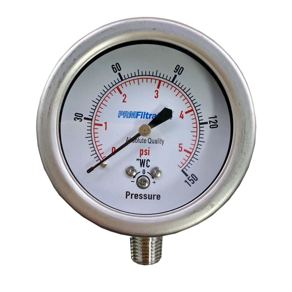 "PRM 304 Stainless Steel Pressure Gauge with Stainless Steel Internals, 0-150""WC/0-5 PSI, 2-1/2 Inch Dial, Dry Gauge, 1/4 Inch NPT Bottom Mount"