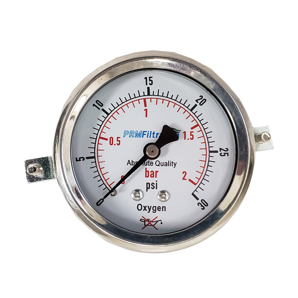 PRM 304 Stainless Steel Pressure Gauge with Stainless Steel Internals, 0-30 PSI/0-2 BAR, 2-1/2 Inch Dial, Dry Gauge for Oxygen Use, Includes Mounting Hardware
