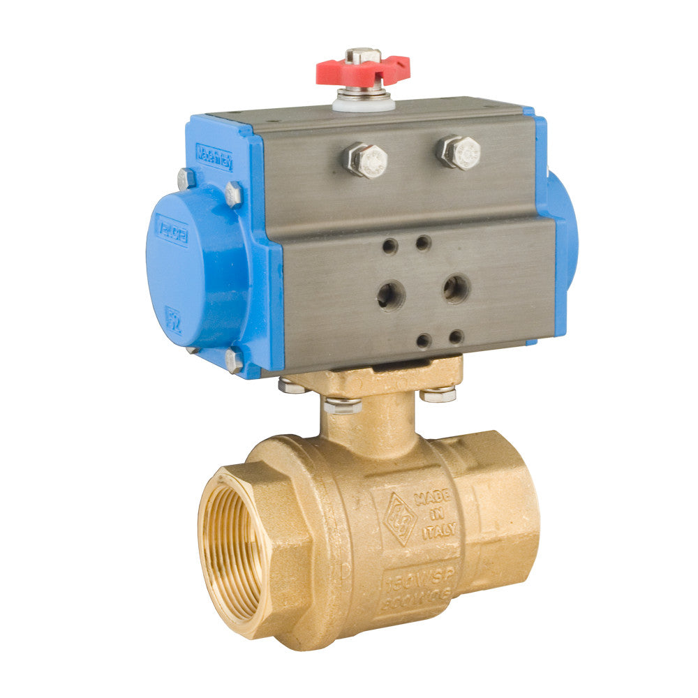 Bonomi 8P0080 NPT Actuated Brass Ball Valve with Double Acting Pneumatic Actuator, Direct Mount, 2-Way, Full Port