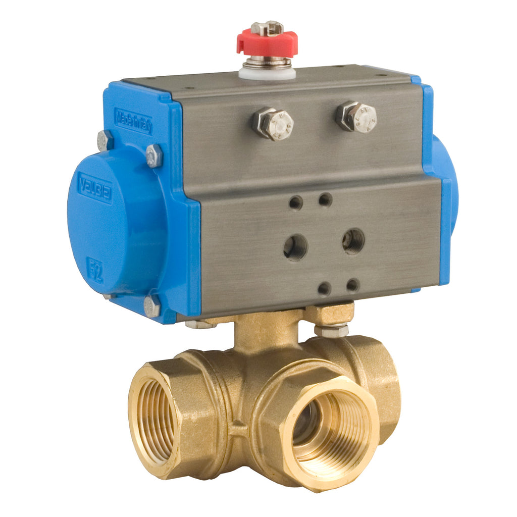 BONOMI 8P0131 BRASS 3 WAY BALL VALVE - FNPT T-PORT WITH SPRING RETURN PNEUMATIC ACTUATOR 400 WOG