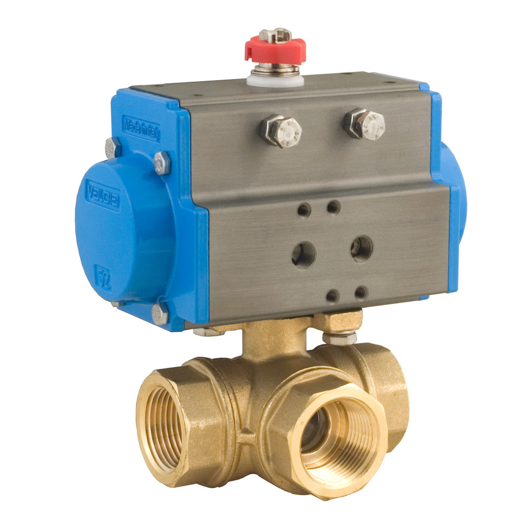BONOMI 8P0132 BRASS 3 WAY BALL VALVE - FNPT L-PORT WITH SPRING RETURN PNEUMATIC ACTUATOR