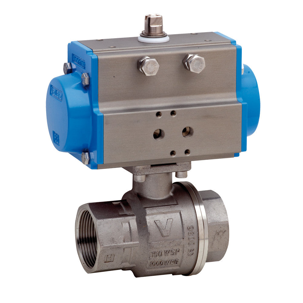Bonomi 8P0134 Stainless Steel Ball Valve with Spring Return Pneumatic Actuator 1000 WOG