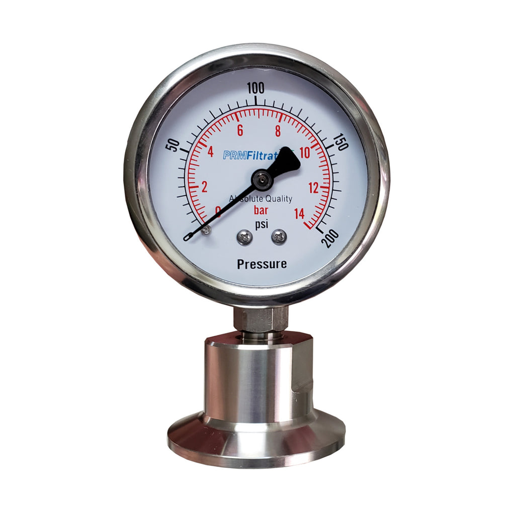 PRM 304 Stainless Steel Pressure Gauge with Stainless Steel Internals, 0-200 PSI/0-14 BAR, 2-1/2 Inch Dial, Bottom Sanitary Tri-Clamp Connection