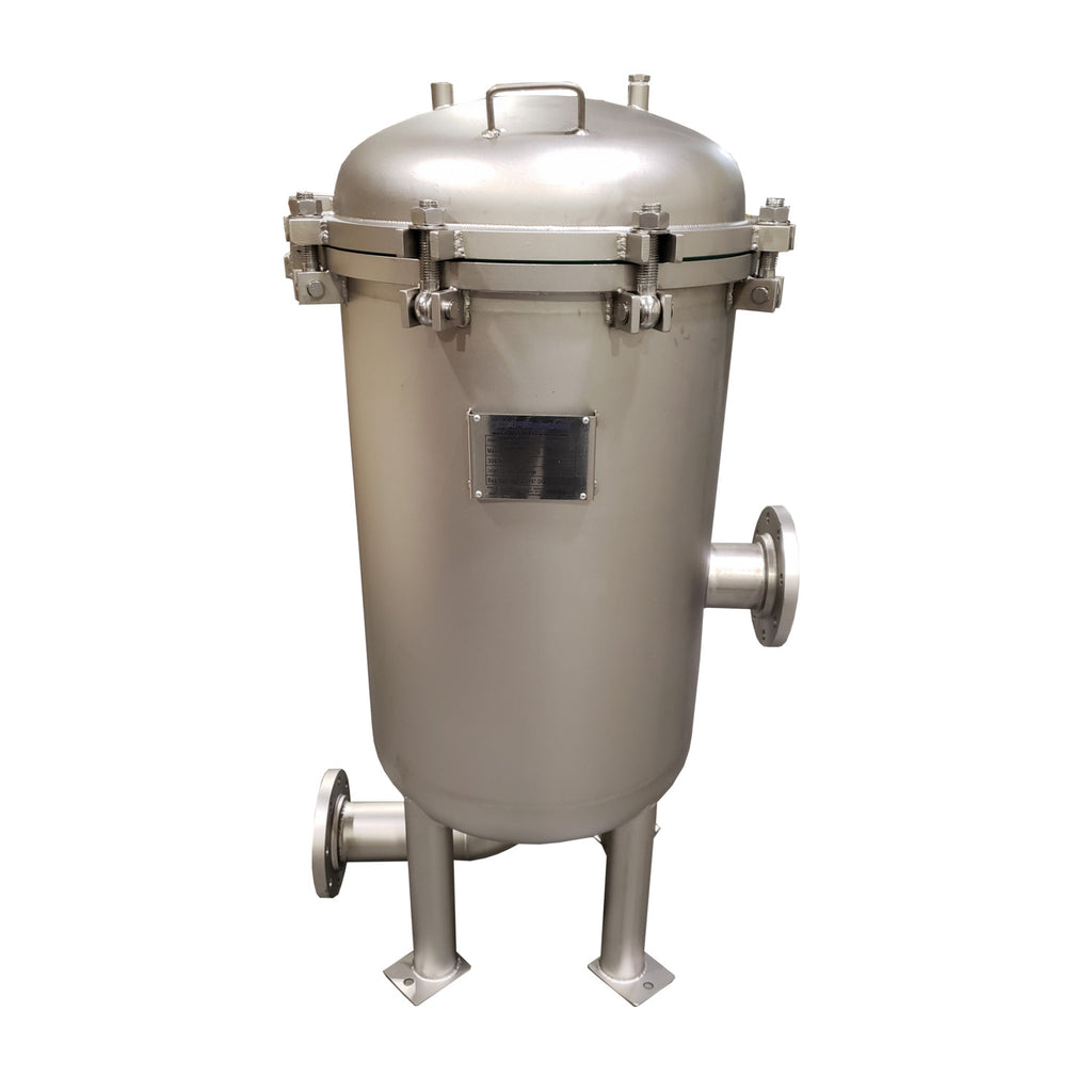 PRM #2 304 Stainless Steel 4 Bag Multi-Filter Housing, Hinged Lid, 4 Inch Flange In/Out-150 psi