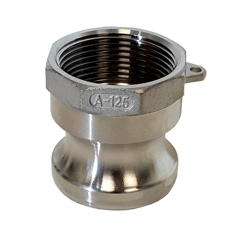 Stainless Steel Cam & Groove Fitting A125 Male Camlock X Female NPT Thread, 1-1/4 Inch