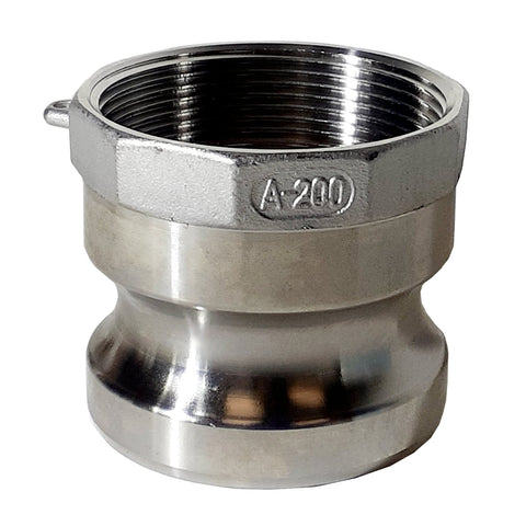 Stainless Steel Cam & Groove Fitting A200 Male Camlock X Female NPT Thread, 2 Inch