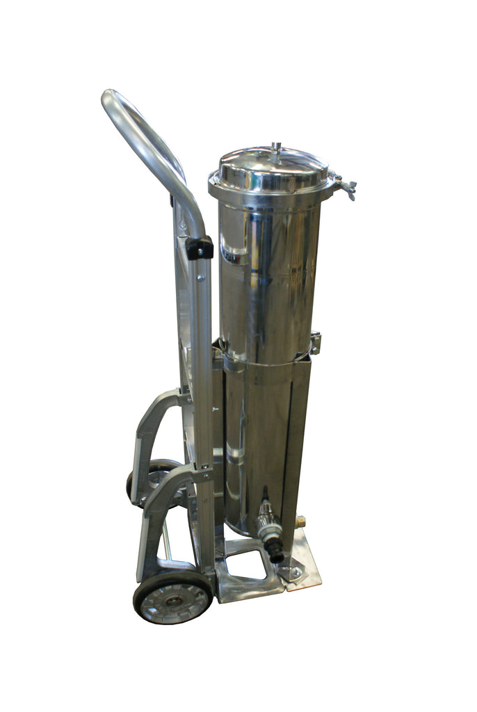 Side-view of Portable Bag Filter Housing on Hand Truck