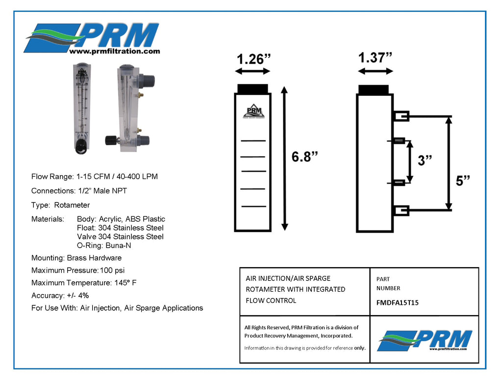 PRM FMDFA15T15 1-15 CFM Air Injection / Air Sparge Rotameter with Integrated Flow Valve