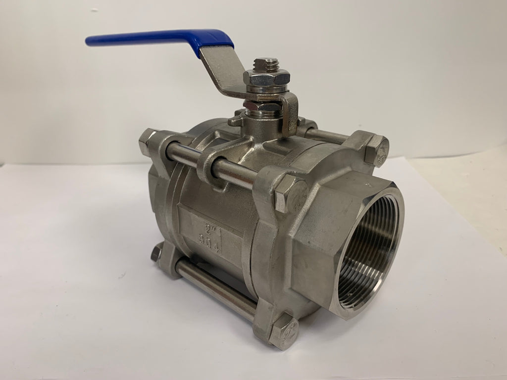 2 Inch NPT 3 Piece Stainless Steel Full Port Ball Valve