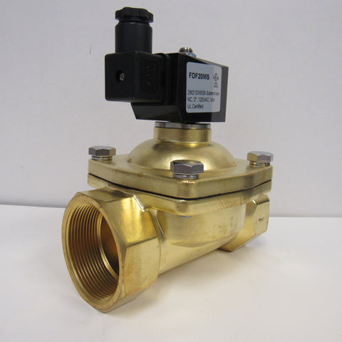 Solenoid Valve, 2 Inch NPT, Brass Body, 120 VAC Coil, Zero Differential