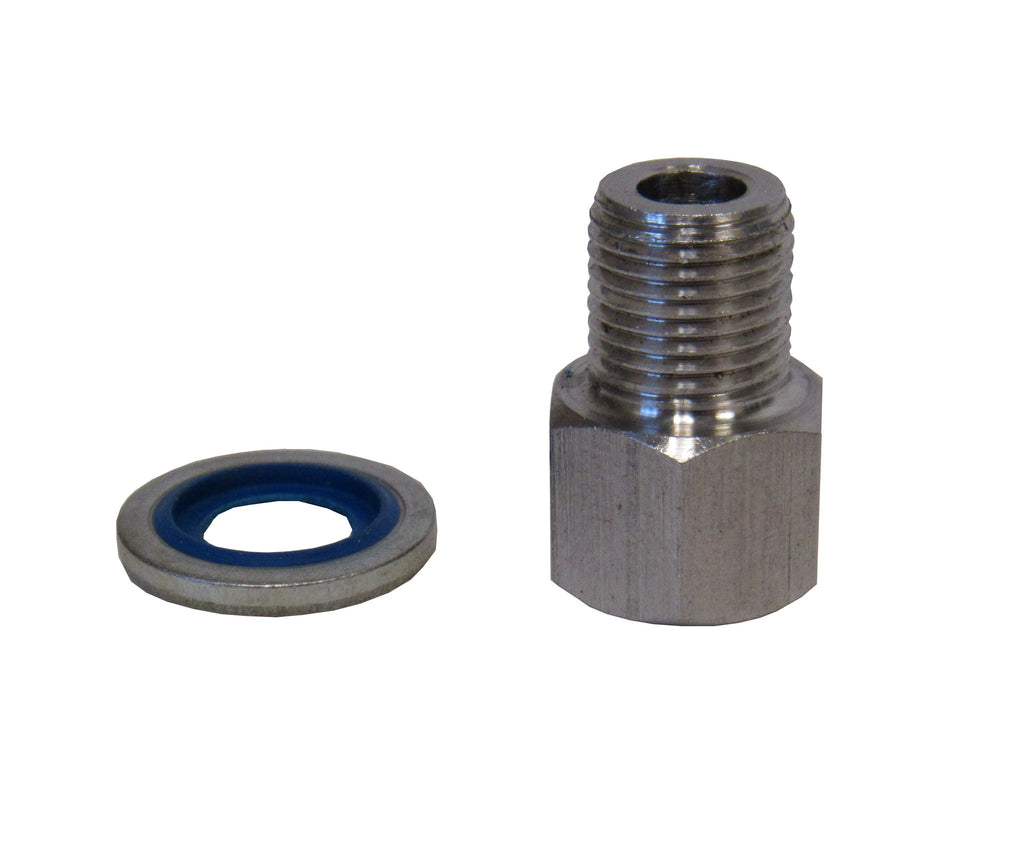 Stainless Steel Adapter, 1/4 Inch NPT Female X 1/4 Inch BSPP Male with Sealing Washer