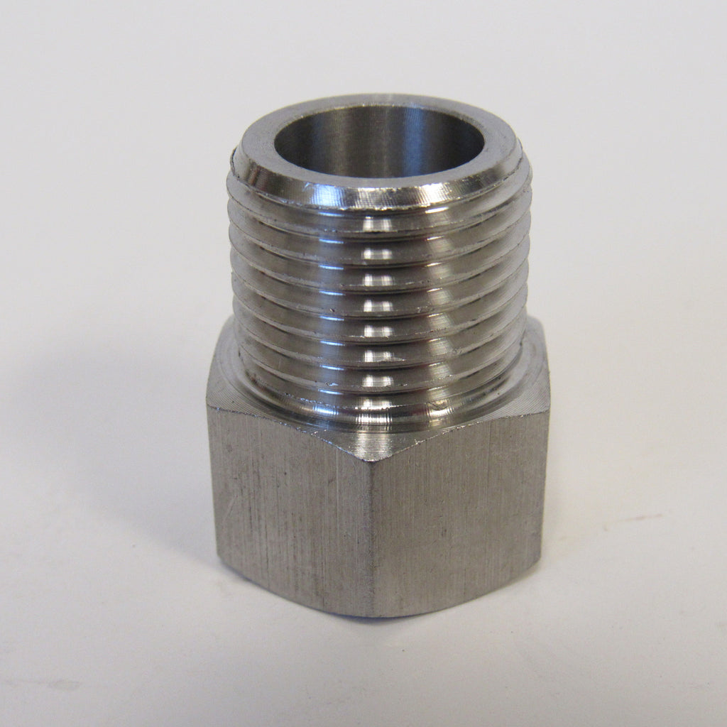 BSPP ADAPTERS - STAINLESS STEEL - 1/4 INCH MALE NPT x 1/4 INCH BSPP FEMALE
