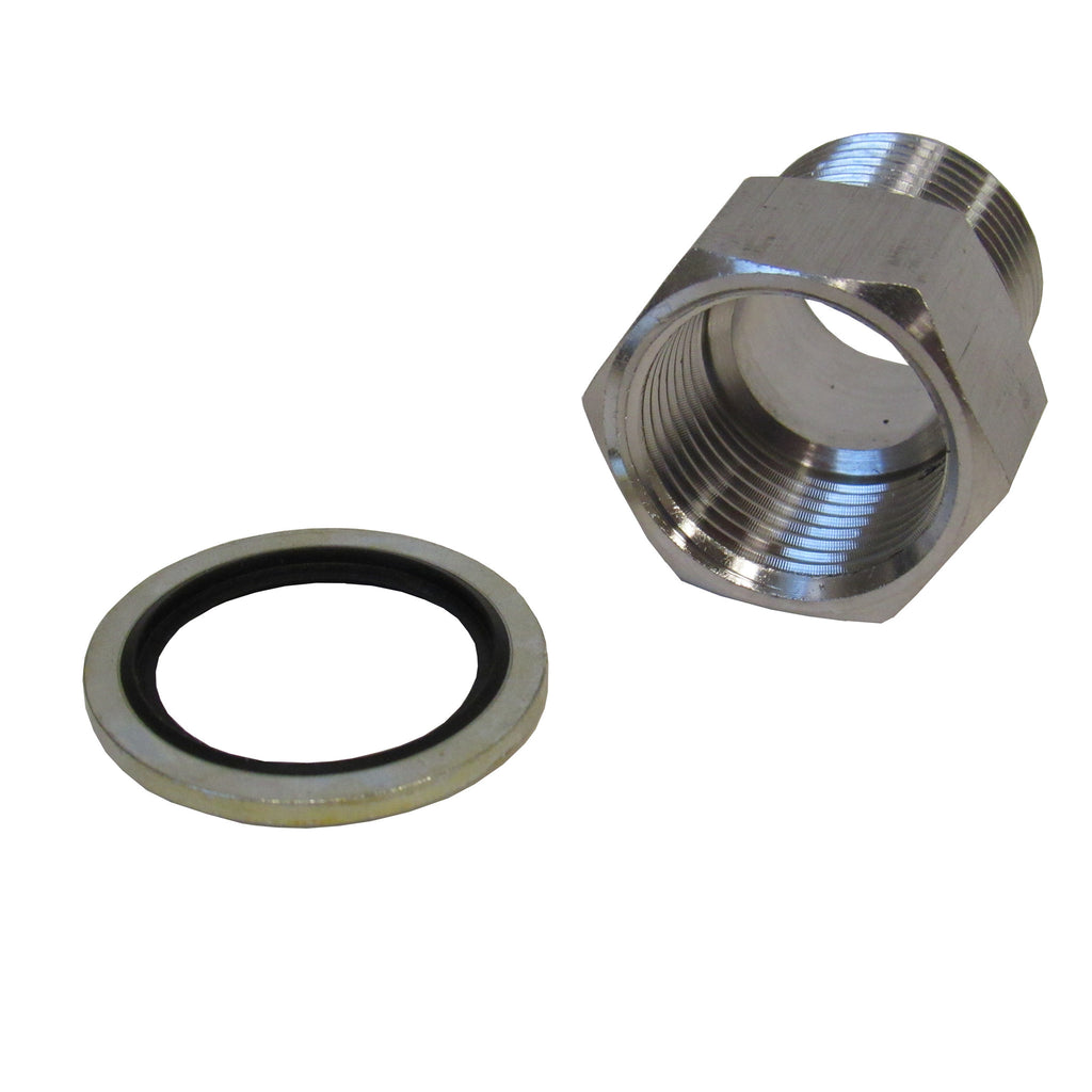 BSPP ADAPTERS - STAINLESS STEEL - 1/4 INCH FEMALE NPT  x  1/4 INCH BSPP MALE WITH SEALING WASHER