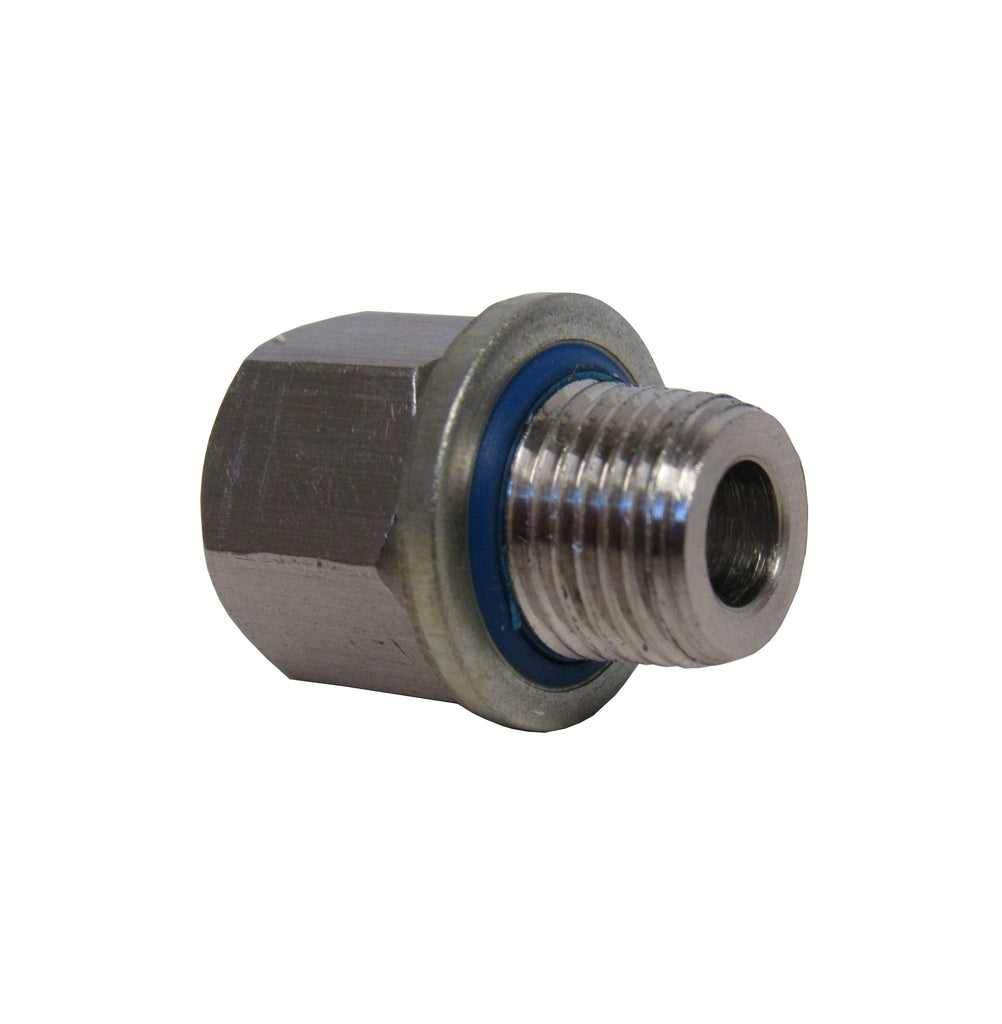 BSPP ADAPTERS - STAINLESS STEEL - 1/8 INCH FEMALE NPT  x  1/8 INCH BSPP MALE WITH SEALING WASHER