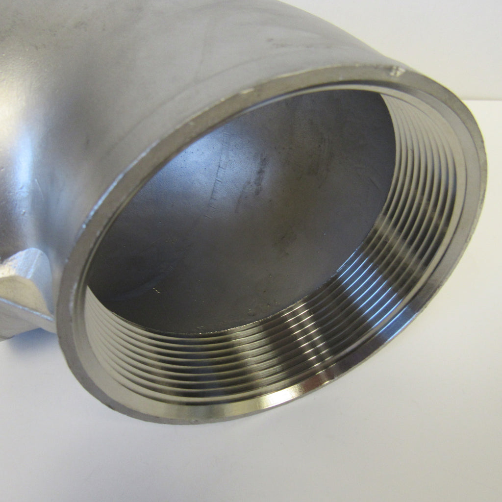 304 Stainless Steel 90 Degree Elbow, Class 150, 2 Inch NPT Thread