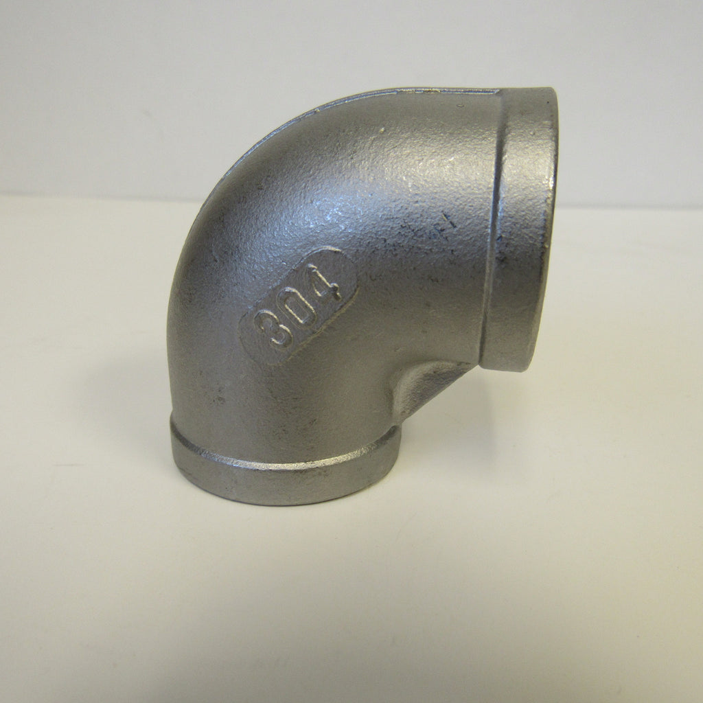304 Stainless Steel 90 Degree Elbow, Class 150, 1-1/2 Inch NPT Thread