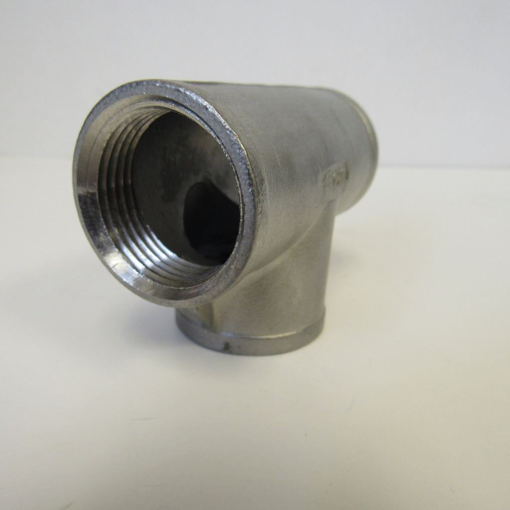 304 Stainless Steel Straight Tee, Class 150, 1/4 Inch NPT Thread