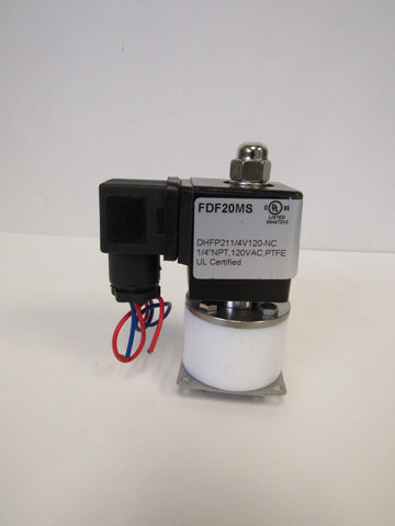 Solenoid Valve, 1/4 Inch NPT, PTFE (Teflon) Body and Seals, 120 VAC Coil