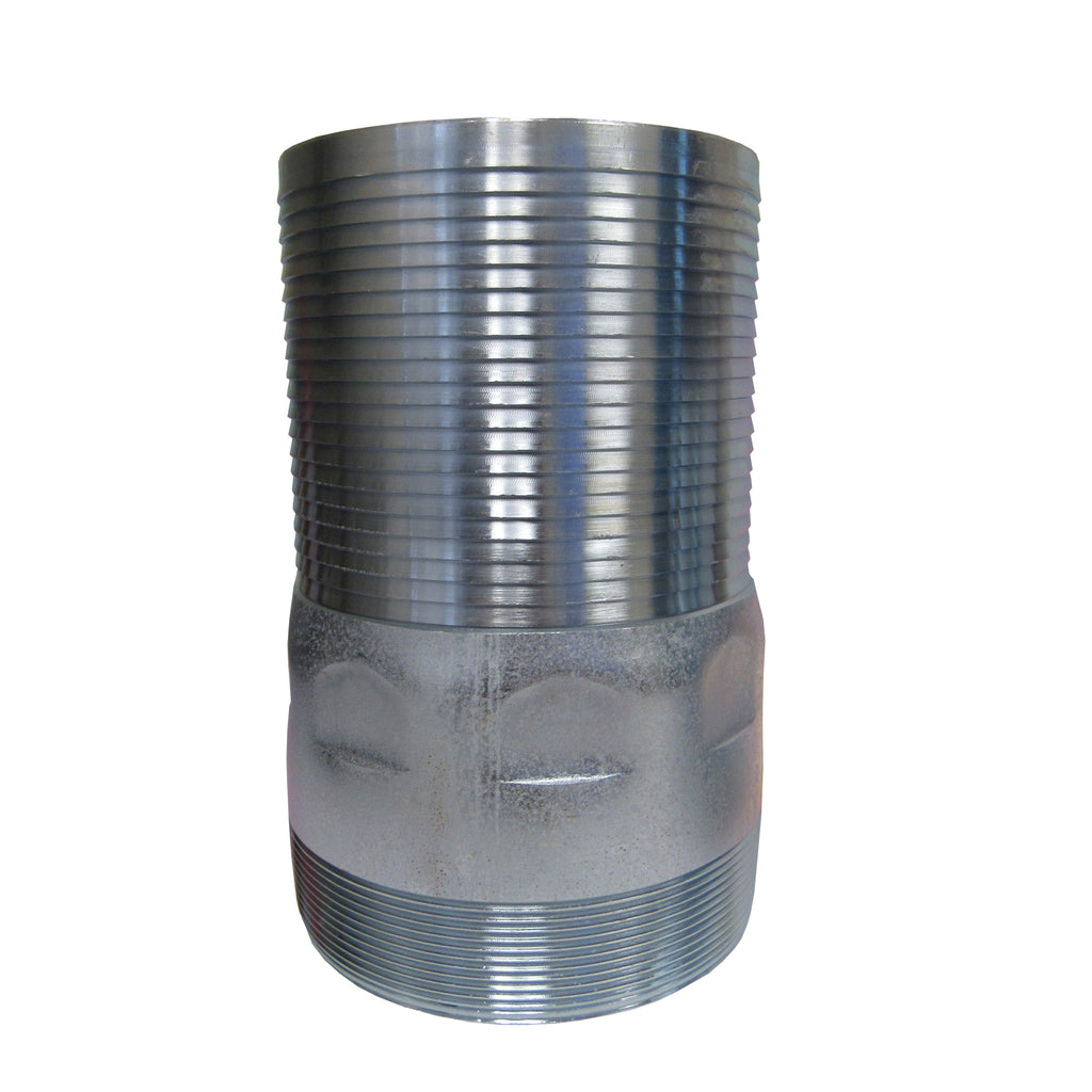 Galvanized King Nipple, 6 Inch MNPT Thread X Hose Barb