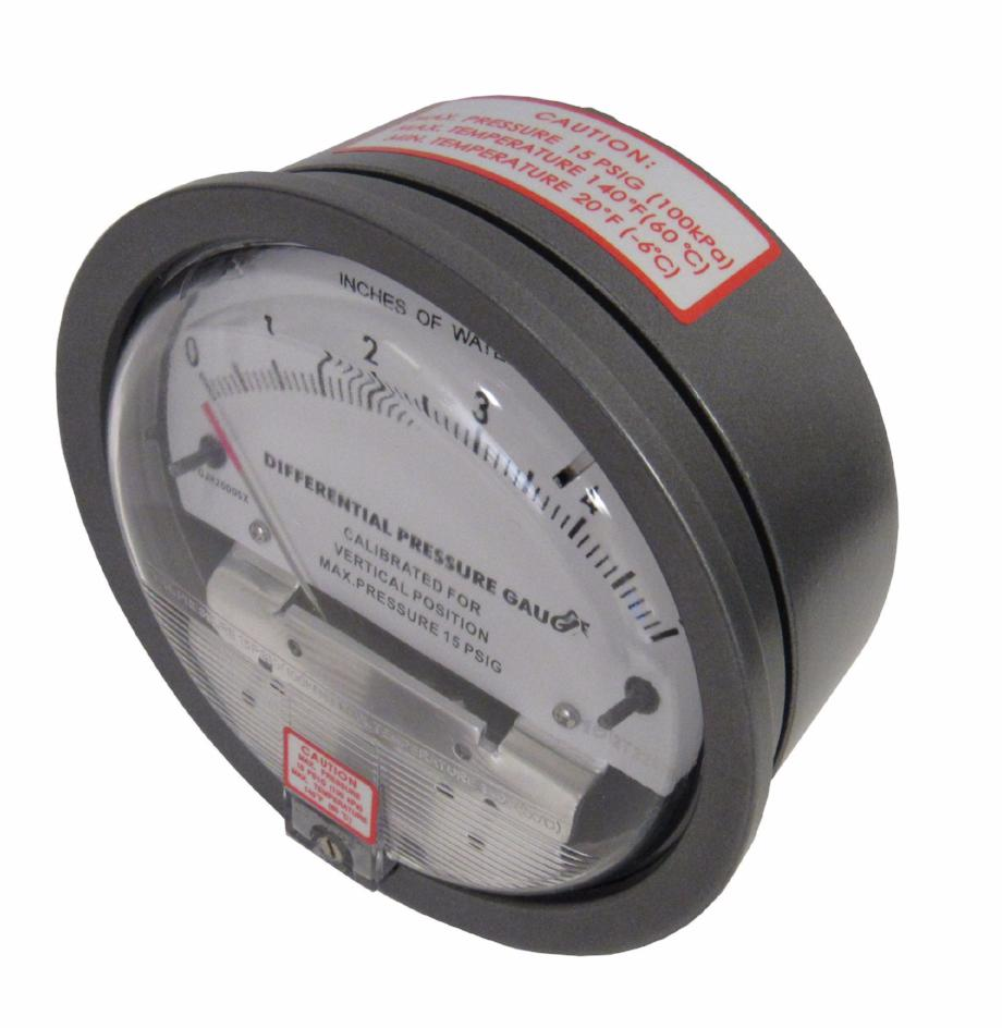 Differential Pressure Gauge, 0-0.25 Inches of Water