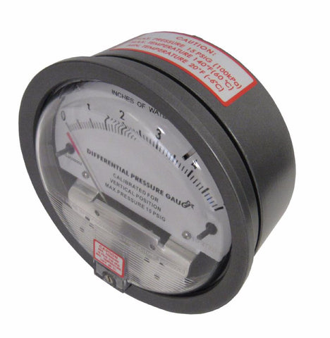 DIFFERENTIAL PRESSURE GAUGE - 0-0.25 INCHES OF WATER