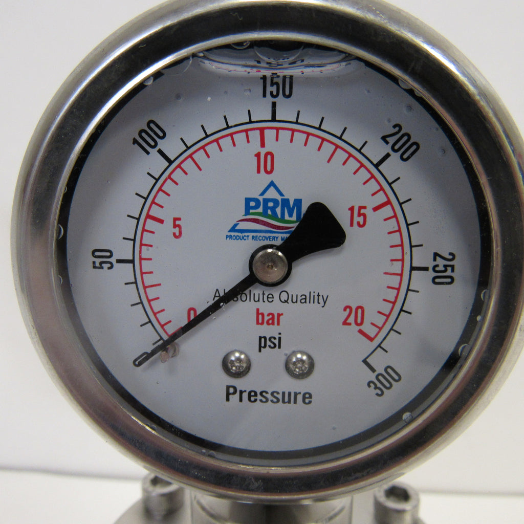 PRM 304 Stainless Steel Pressure Gauge with Stainless Steel Internals and Diaphragm Protector, 0-300 PSI, 2-1/2 Inch Dial, 1/4 Inch NPT Bottom Mount