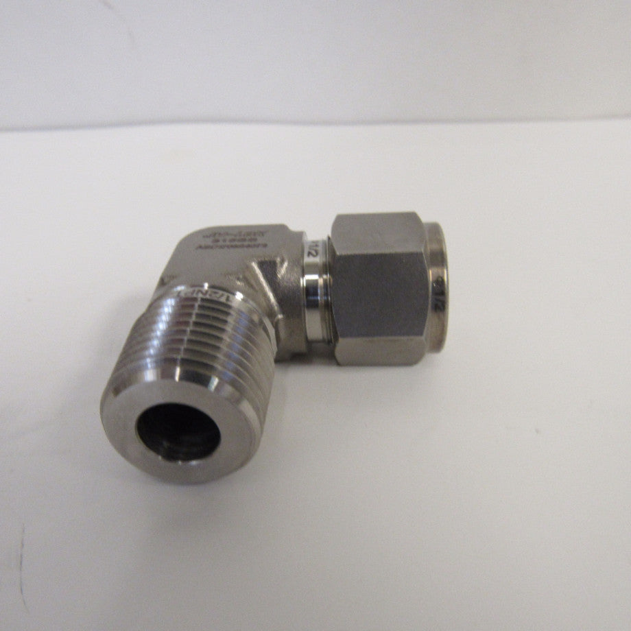 316 SS Compression Fitting, 1/2 Inch Tube X 1/2 Inch MNPT 90 Degree Elbow