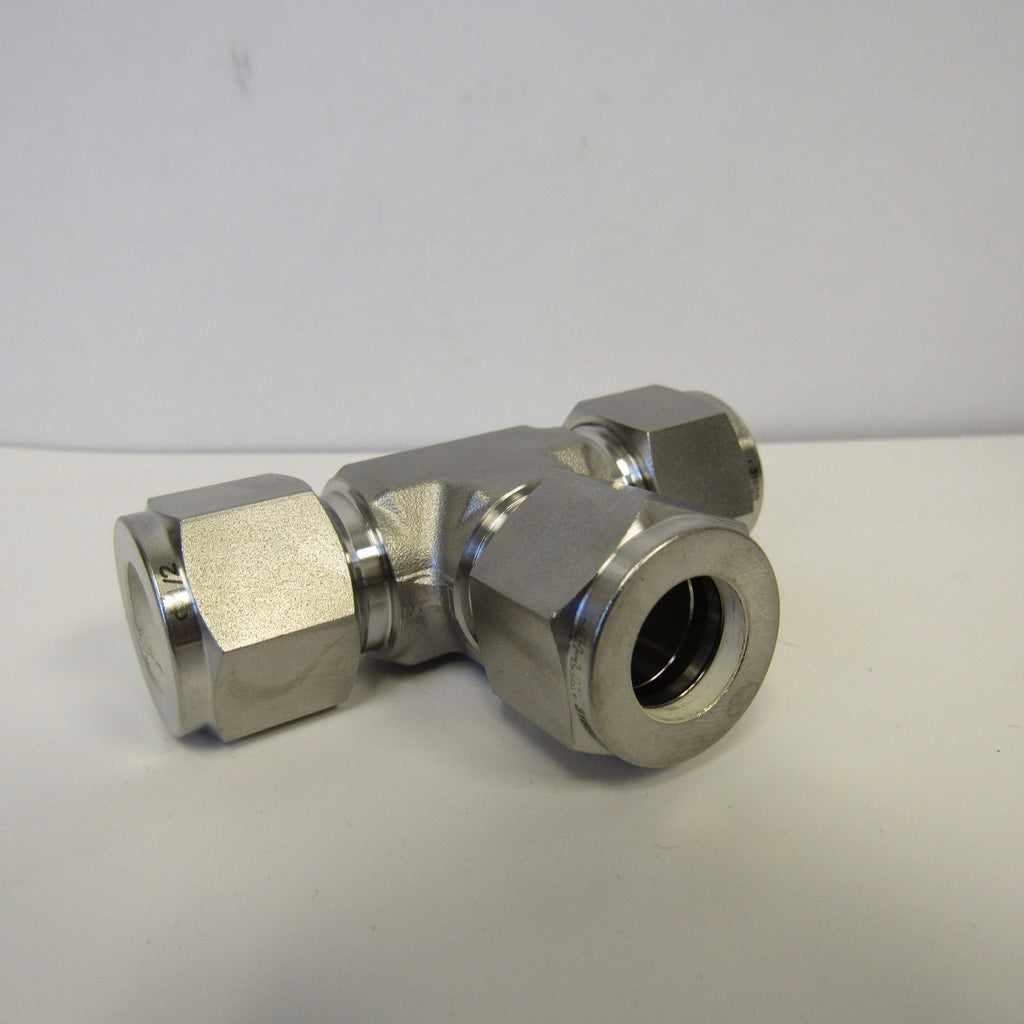 316 SS Compression Fitting, 1/2 Inch Tube Union Tee