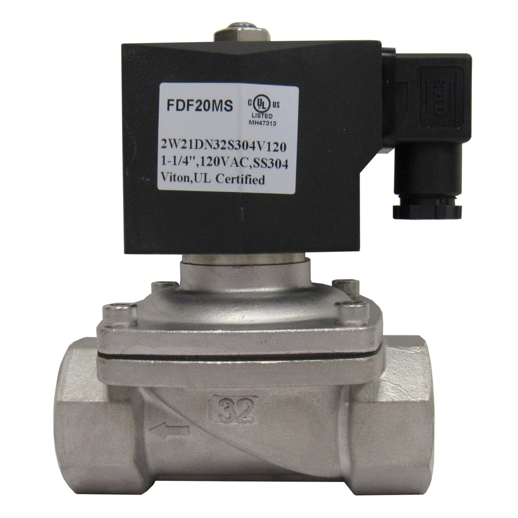 SOLENOID VALVE - 1-1/4 INCH NPT, 304 STAINLESS STEEL, 120 VAC COIL, VITON SEAL - SV1252W21DN32S304X