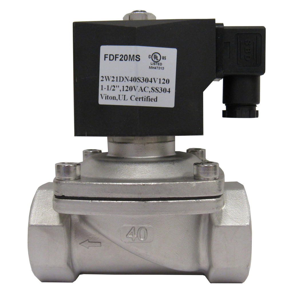 Solenoid Valve, 1-1/2 Inch NPT, 304 Stainless Steel, 120 VAC Coil, Viton Seal